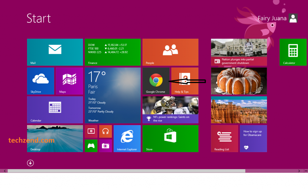 Google Chrome in Start Screen in Windows 8.1