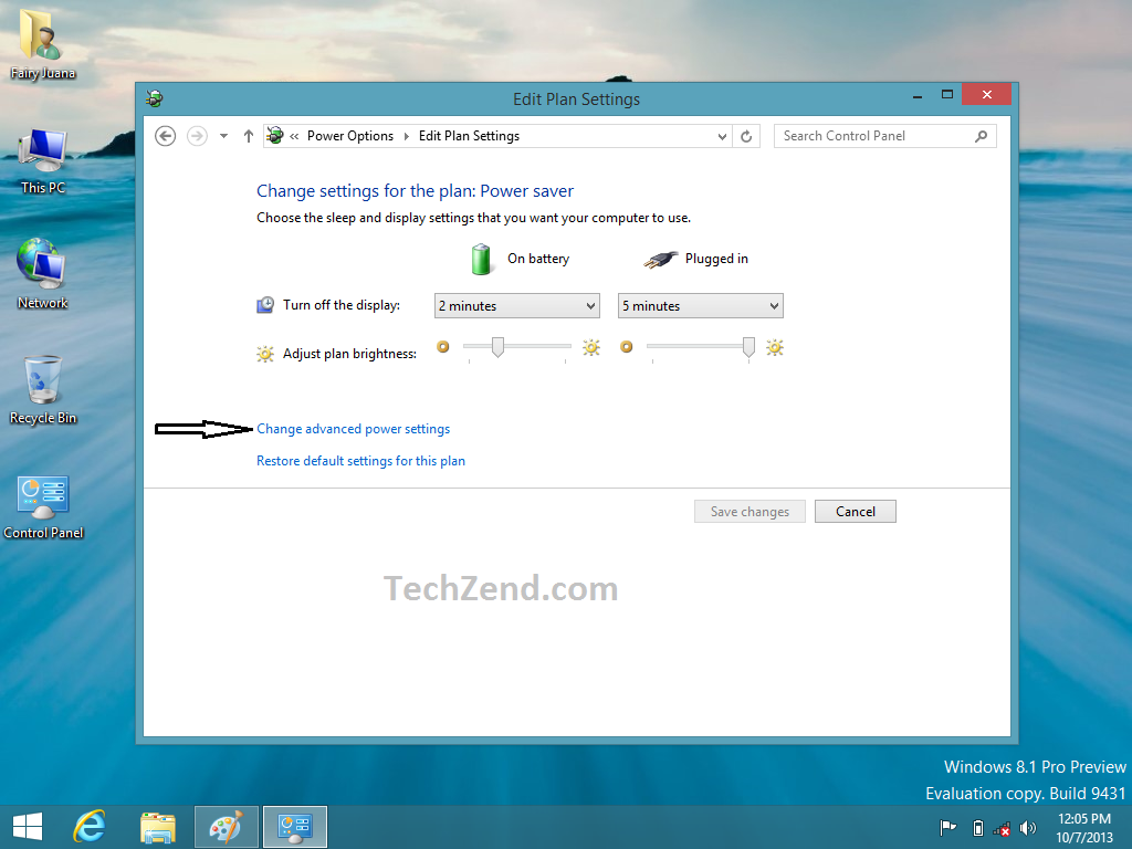 how to change display brightness windows 8