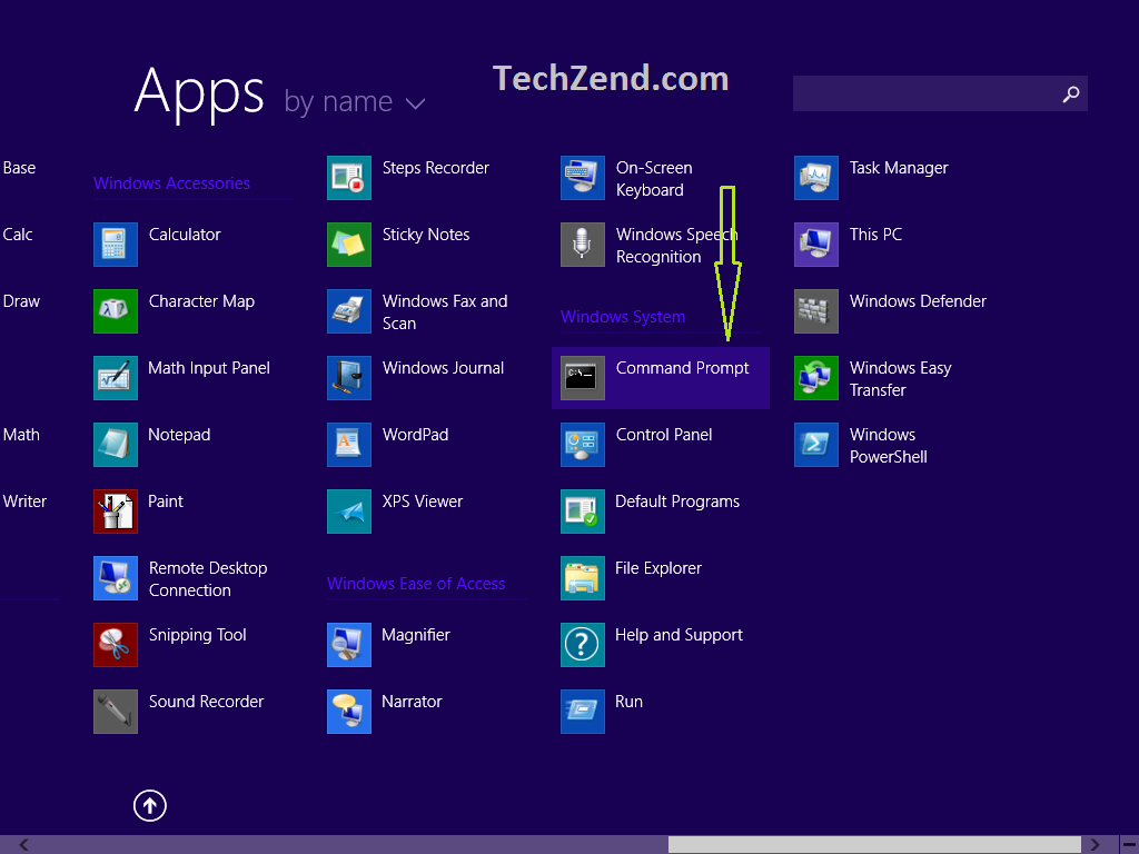 Command Prompt in Apps Section 0