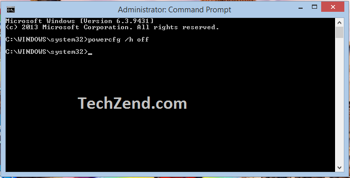 Disable Hibernate Option through Command Prompt - 3
