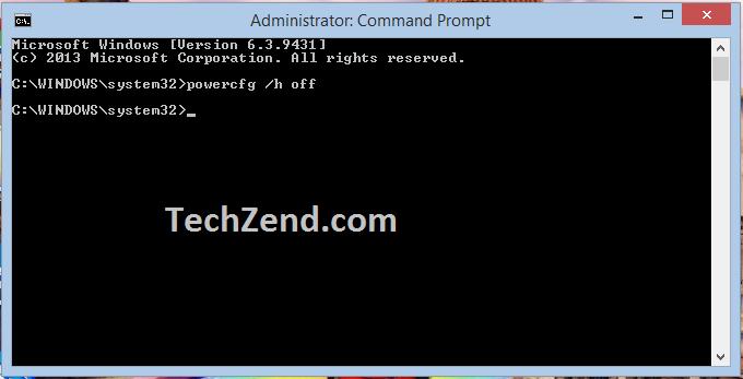 Disable Hibernate Option through Command Prompt - 3