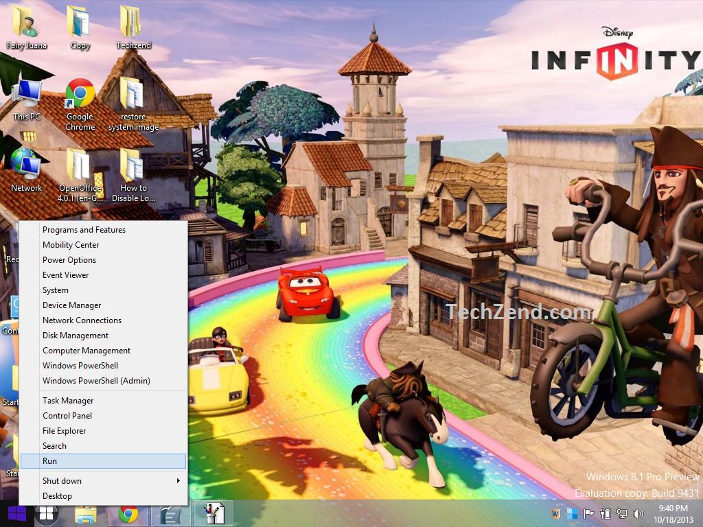 Run Option in Start Button Windows 8.1