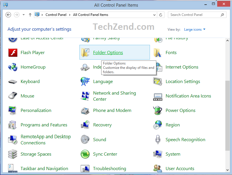 Show Hidden Files and Folders (Control Panel Method 1-2)