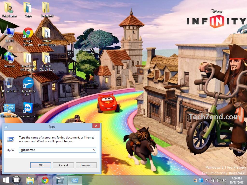 Use RUN for disabling Lock Screen in Windows 8.1-1