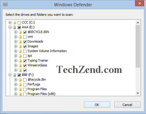 Windows Defender Scan for Some Folders and Files3B