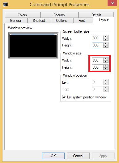 Window size CMD