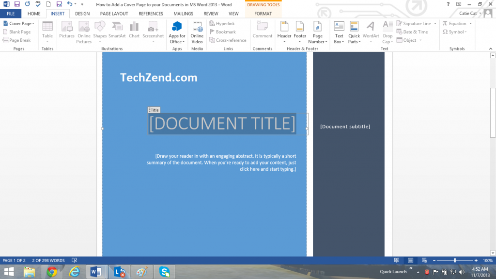 Add Cover Page in MS Word 2013 Documents [How To]