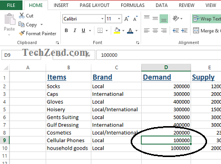Select Data Cell in Excel-1