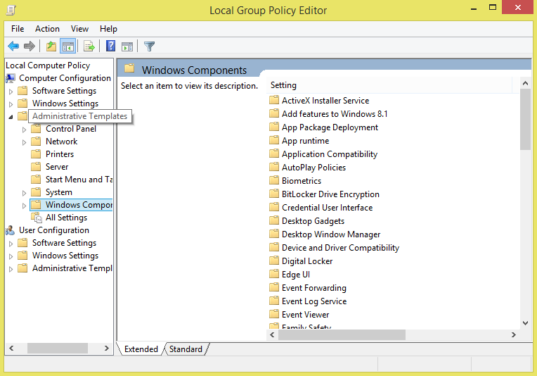 Windows Components cum Administrative Templates
