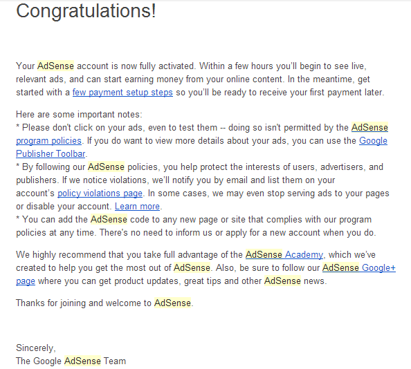 Adsense's Approval Email
