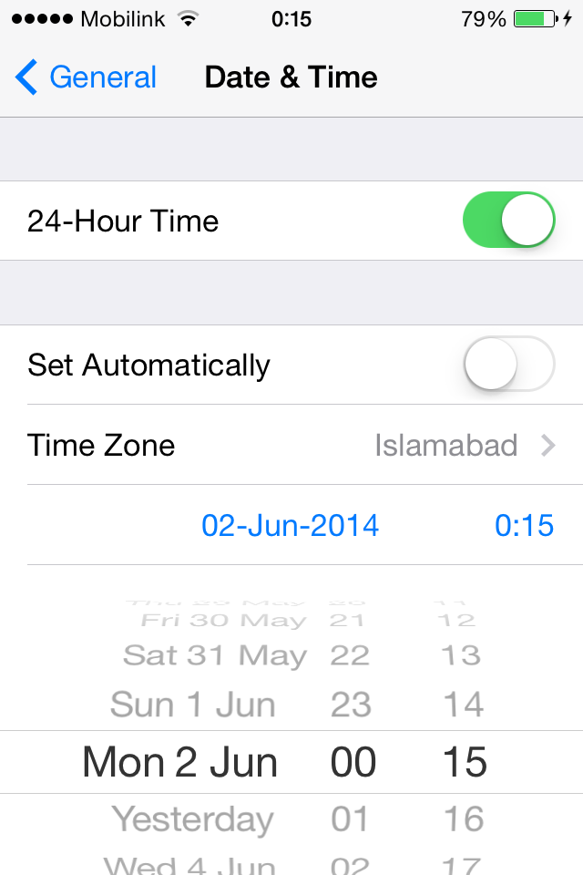 change iOS date to 2nd june 2014