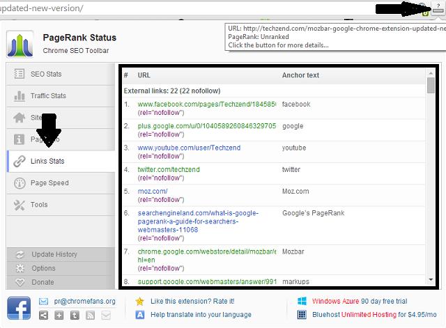 PageRank Status chrome extension