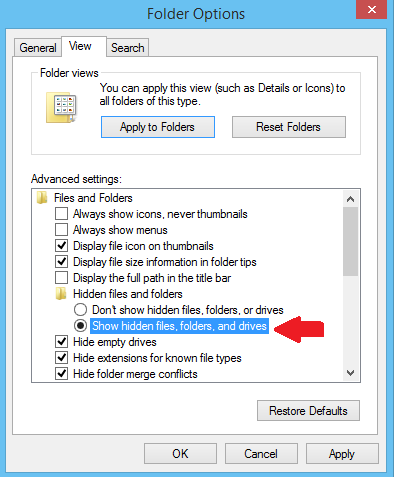 Show hidden files, folders and drive