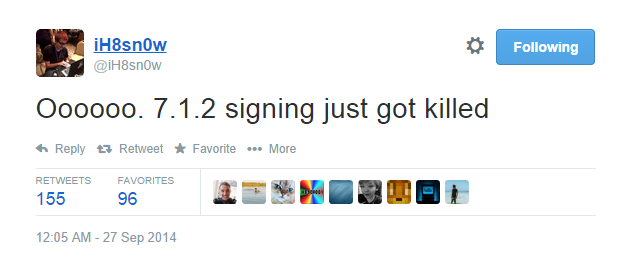 iOS 7.1.2 signing just got killed. #iH8sn0w