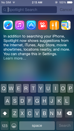 Spotlight Search - iOS 8