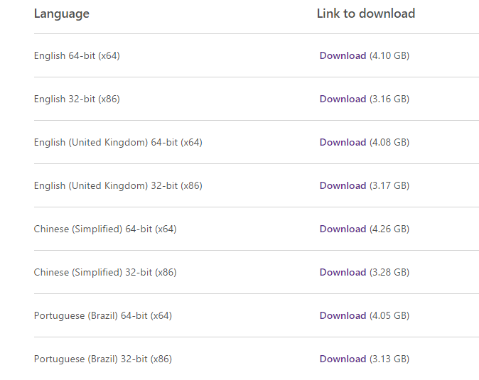 Download Links Windows 10