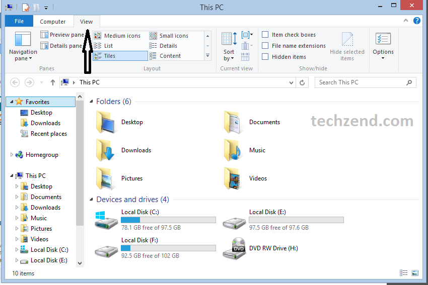 View option in File Explorer