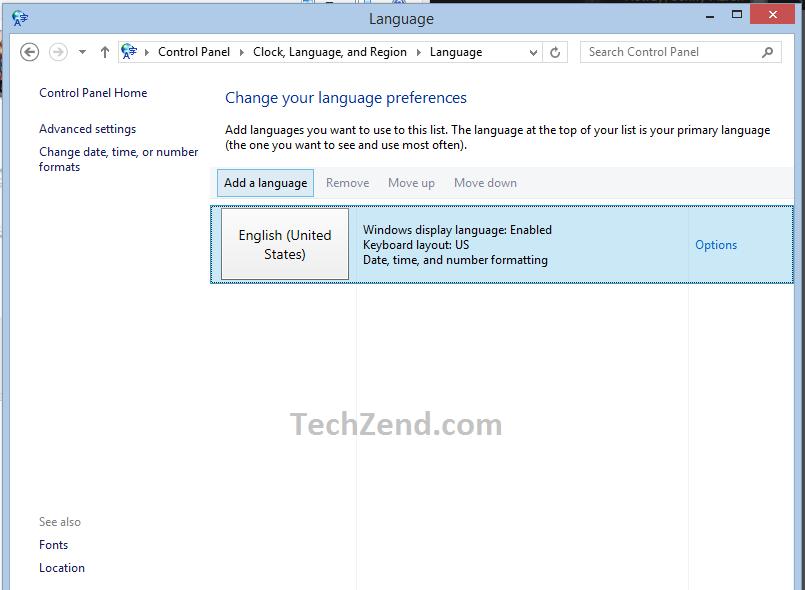 Add a Language Above English Option 3rd