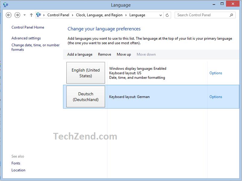 Options for German Language 4