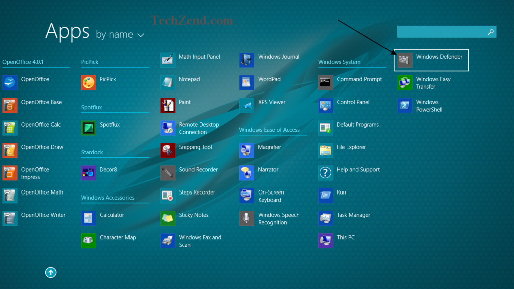 Windows Defender in Apps Section 1