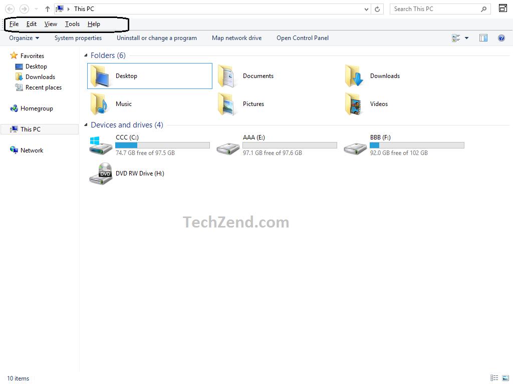 Windows Explorer Menubar in Windows 8.1