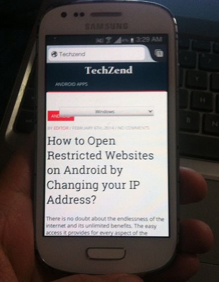 Internet running on Android