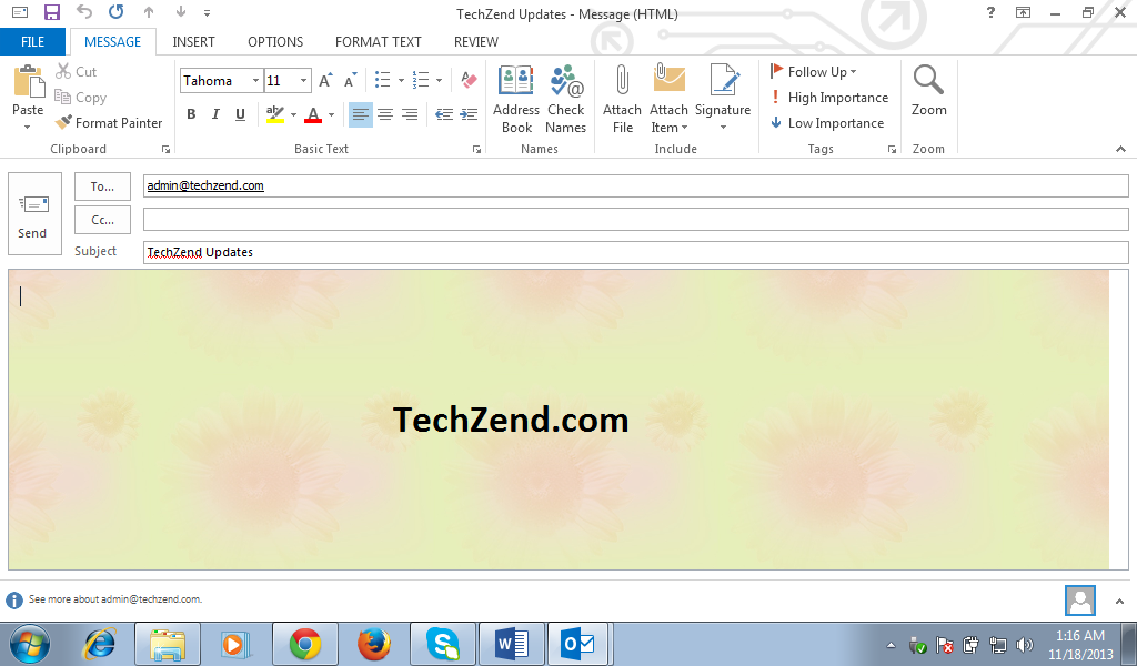 Add Theme in Email in Outlook 2013
