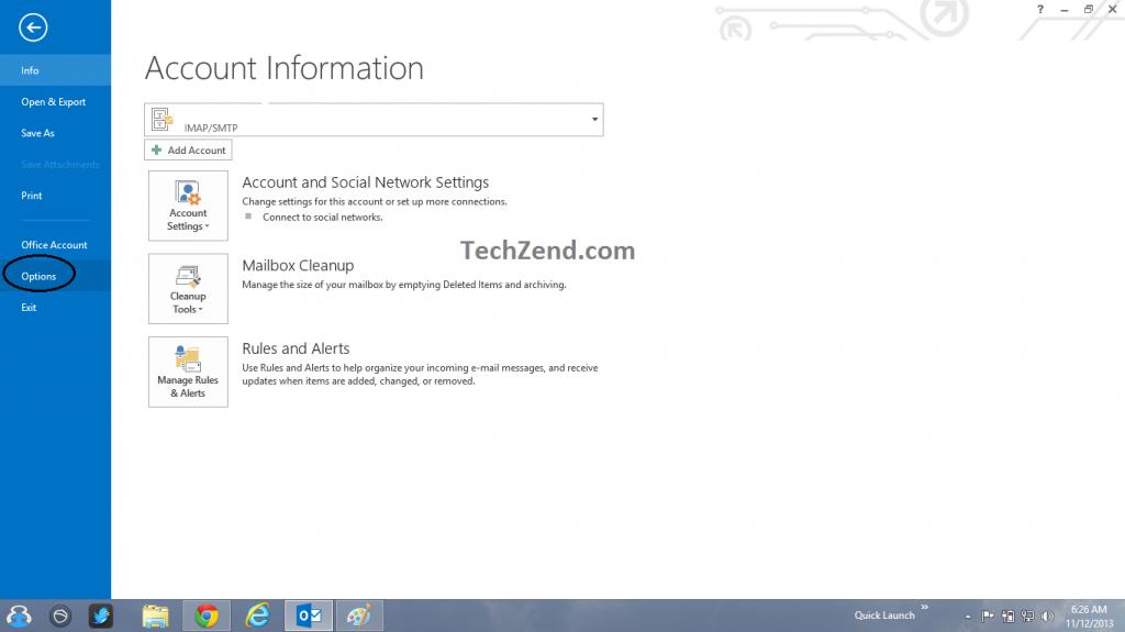 File Menu in Outlook 2013