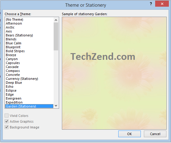 Selection of Theme for Email Background in Outlook 2013-2