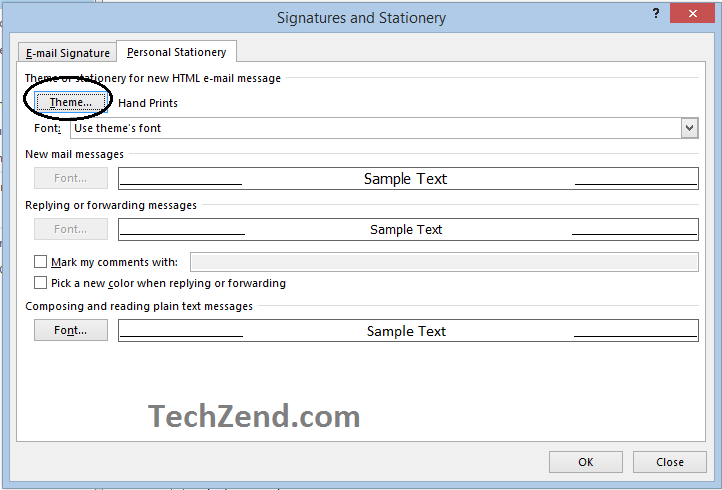 Signature and Stationery Menu for Themes in Email-3