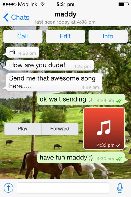 Music file sent