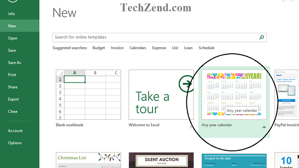 Any Year Calendar Tool in Excel 2013-3