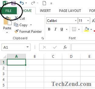 File Menu in Excel 2013-1