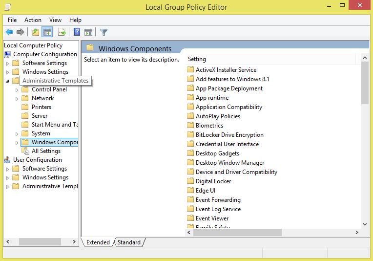 Windows Components cum Administrative Templates