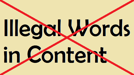 illegal Words in Content