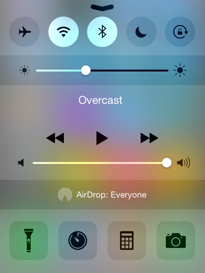 iOS 8 like Control Centre