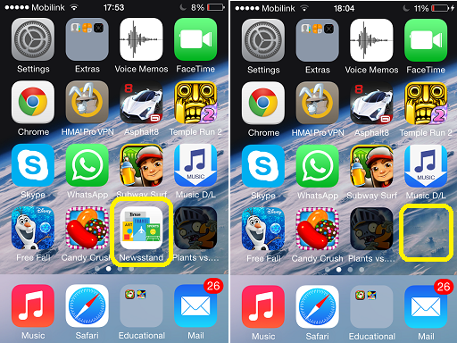 Hide Newsstand icon iOS 7x