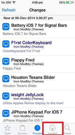 Installed tab [Cydia]