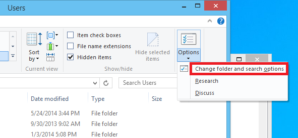 Change folders and search options