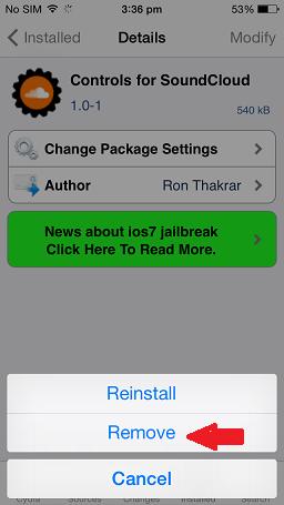 Remove tweak or app