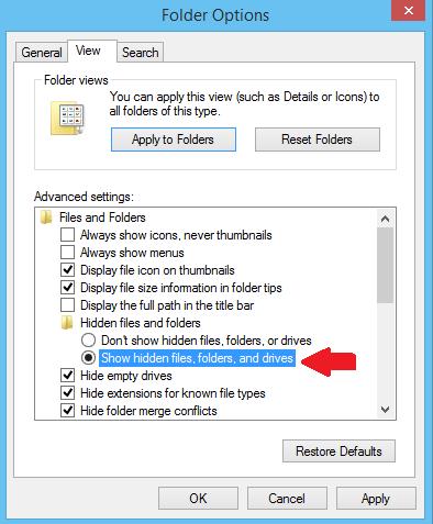 Show hidden files, folders and drive