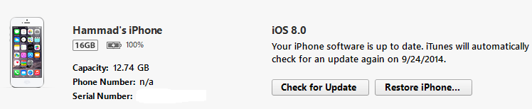 iOS 8 installed successfully