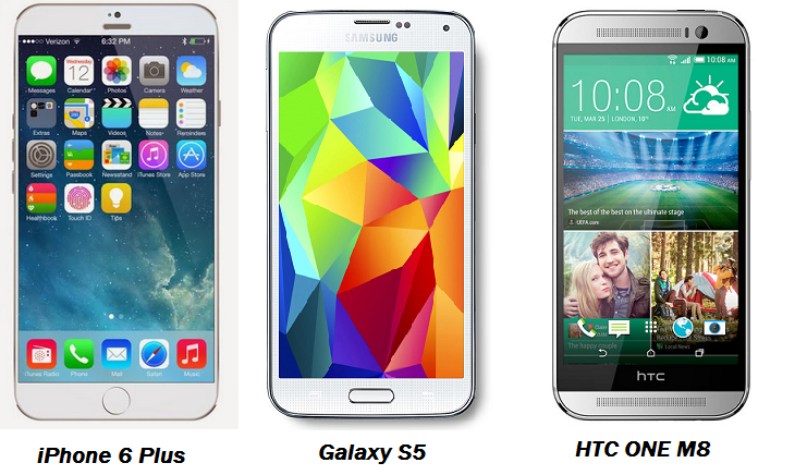 iPhone 6 vs HTC One M8 and Galaxy S5