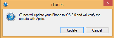 iTunes will update your iPhone to iOS 8.0 and will verify the update with Apple.