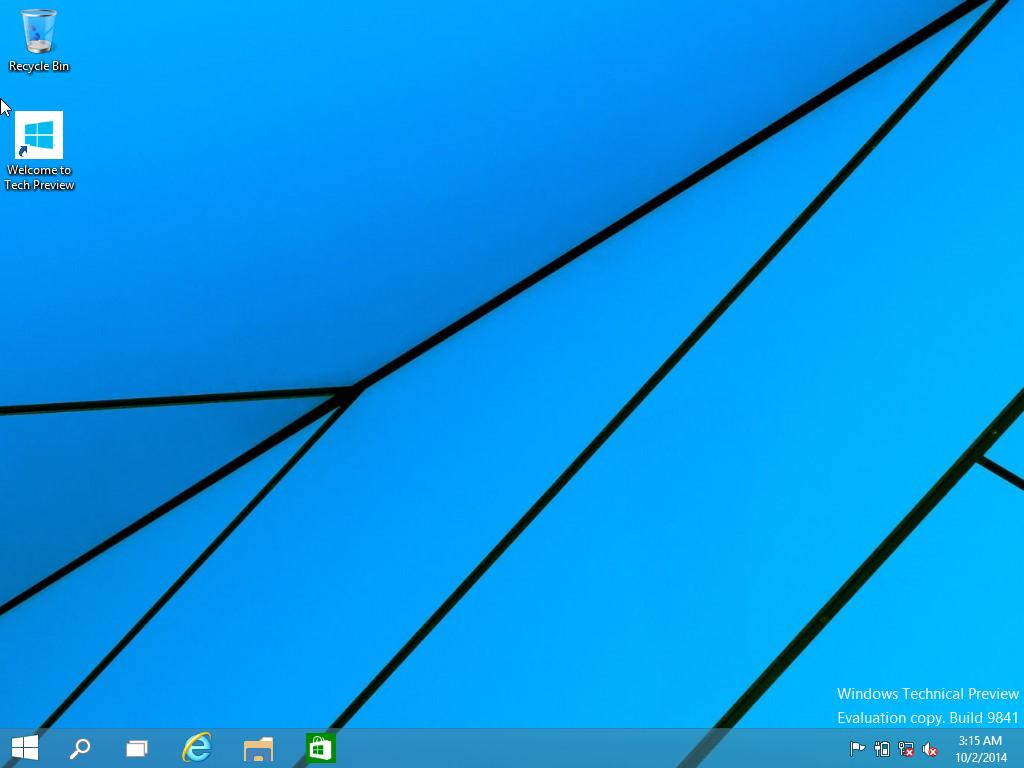 Windows 10 technical preview desktop screen