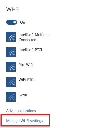manage wifi settings