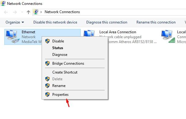 Network connections properties